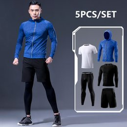Polyester Jogging Suits NZ - New Arrival Sports Suit Men's Running Sets Jogging Basketball Underwear Sportswear Gym Tights Running Tracksuit Training Clothes