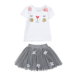 Wholesale Girls Clothing Sets New Summer Fashion Style Cartoon Kitten Printed T Shirts Net Veil Dress Girls Clothes Sets Kids Costume