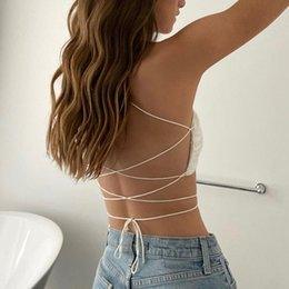 Wholesale cut back t shirt for sale – custom Backless Crop Top Women Sleeveless Back Bandage Halter Spaghetti Strap Low Cut Lace Embroidery Short T Shirt Tank Camisole Tops