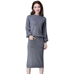 2767873078 Women Knitted Suit Skirt and Top Set 2019 Spring Long Sleeve Female Knitwear  Midi Skirts Two Pieces Sets