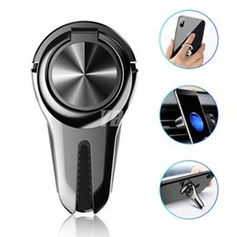 black hand ring holder Australia - Cell Phone Ring Holder Finger Kickstand 360° Rotation Stand Metal Hand Grip Magnetic Car Air Vent Car Mount For iPhone 11 Pro MAX