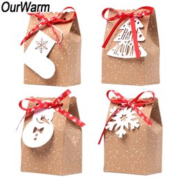 Candy Paper Bag Australia - OurWarm 4pcs Kraft Paper Christmas Gift Bags New Year Gifts Candy Bags 4 Style with White Tags Red Snowflake Ribbon