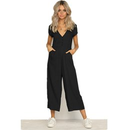 Green Jumpsuit Black Woman UK - New 2019 Women Summer Short Sleeve Casual Jumpsuits Deep V-Neck Black White Green Loose Rompers Female Backless Button