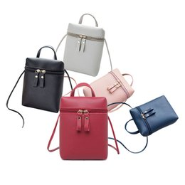 Color Leather Bags Australia - High Quality Female Mini Keys Phones Coin Shoulder Bag Pu Leather Messenger Solid Color Bucket Bags For Women Girls Wholesale