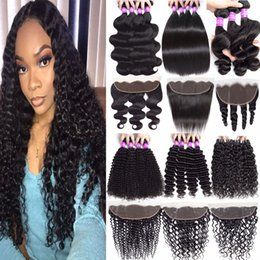$enCountryForm.capitalKeyWord Australia - 9A Malaysian Human Hair Bundles With 13x4 Lace Frontal Closure Ear to Ear Deep Wave Curly Virgin Hair With 3 Bundles Hair Weave