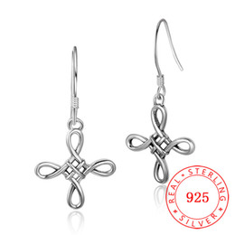 sterling silver cross dangle earrings Canada - Solid 925 Sterling Silver Oxidized Earrings Handcrafted Women traditional Chinese knot design Antique Silver Jewelry Dangle Hook Earrings