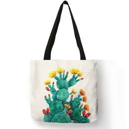 $enCountryForm.capitalKeyWord Australia - Fashion Lady Tote Bag Watercolor Pretty Cactus Painting Hand Bags Eco Linen Women Girls School Office Reusable Shoulder Bag
