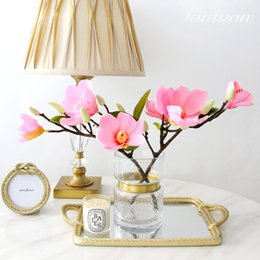 wholesale artificial magnolia flowers UK - 3d Print Artificial Magnolia Flower Wedding Decoration Wall Flower Chinese Style Simulation Magnolia Silk Home Fake