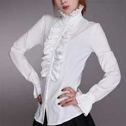 office blouse styles NZ - fashion style Victorian Women OL Office Lady Shirt High Neck Frilly Ruffle Cuffs Shirt Blouse