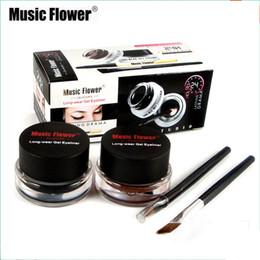 Gel Eyes Liner Australia - 2 pcs set Music Flower Waterproof Eyeliner Gel Smudge-proof Make Up Eye Liner Kit 24H Long Lasting Eyes Makeup With Brush
