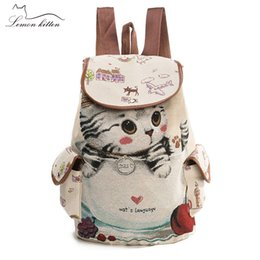 $enCountryForm.capitalKeyWord Australia - Kitten Pattern Canvas Kids Child Backpack Softback Zipper Cat Printing Children School Bags For Teenage Girls Rucksack 2019