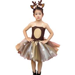 $enCountryForm.capitalKeyWord NZ - Brown Deer Tutu Dress Halloween Costume For Girls Kids Birthday Party Dress Children Cosplay Animal Sika Deer Dress Up Clothes J190505