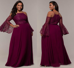 $enCountryForm.capitalKeyWord Australia - Lastest Cold shoulder Plus size Special Occasion Prom Evening Dress Party Wear Chiffon Juliet Long Sleeves Lace Designer Cheap Formal Gowns