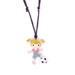 China Fashion Colourful Crystal Sports Necklace Football Girl Charm Pendant Cartoon Girl Adjustable Wax Rope Women's Jewelry cheap colourful pendant necklace suppliers