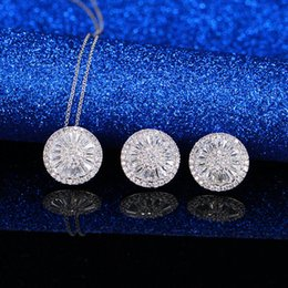 $enCountryForm.capitalKeyWord Australia - Fashion Sets Brand new Classic white gold color cubic zircon micro paved round plate pendant necklace earring set Korean