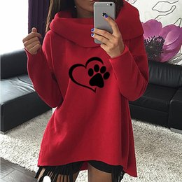 Hoodie scarves online shopping - 2019 New Fashion Heart Cat or Dog Pat Print Pattern Clothes Women Hoodies Scarf Collar Casual Sweatshirts Pullovers for Female Y190916