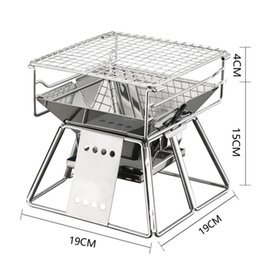 $enCountryForm.capitalKeyWord Australia - Camping Grill 19X19X19cm Stainless Folding Charcoal BBQ Grills For Outdoor Garden Picnic Barbecue BBQ Roast Stove Rack