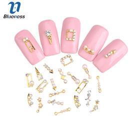 $enCountryForm.capitalKeyWord Australia - Blueness 10Pcs Acrylic Nail Art Rhinestones 3D Gold Metal Pearl Decoration Studs 25 Designs Glitter Jewelry Nails Accessories