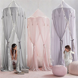 $enCountryForm.capitalKeyWord NZ - Tassel drops princess home decor hanging Kids Baby Crib Netting Bedding Dome Canopy Chiffon Mosquito Net Bedcover Curtain P20