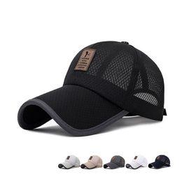 $enCountryForm.capitalKeyWord Australia - Summer long full net baseball cap outdoor breathable shade mesh cap men and women leather standard sunscreen big hat