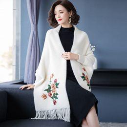 $enCountryForm.capitalKeyWord UK - 2019 Autumn Winter Women Faux Mink Embroidery Tassel Knit Shawl Scarf Cloak Female Batwing Sleeve Poncho Sweater Cardigan K160