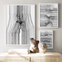 AbstrAct lines Art online shopping - Sexy Woman Abstract Body Art Curve Line Wall Art Canvas Painting Nordic Posters And Prints Wall Pictures For Living Room Decor