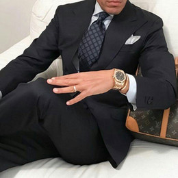 $enCountryForm.capitalKeyWord Australia - Wide Peaked Design Dark Blue Men Suits for Wedding Wear Mens Business Blazers Costume Homme Groom Tuxedos 2Piece Slim Fit trajes de hombre