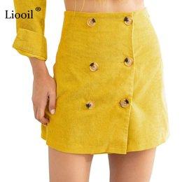 c0f0000537 Yellow Pencil Skirt Wholesale Australia - Liooil Winter Corduroy Mini Skirt  Women Clothes Autumn 2018 Fashion