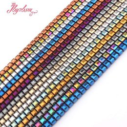 "$enCountryForm.capitalKeyWord NZ - 4mm Faceted Cube Suqare Metallic Coated Hematite No Magnetic Natural Stone Beads For Necklace Jewelry Making 15"" Free Shipping"
