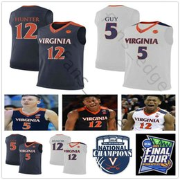 c3f4913a773 2019 NCAA Virginia Cavaliers #12 DeAndre Hunter Jersey Home Away Navy Blue  White Stitched #5 Kyle Guy College Basketball Jerseys