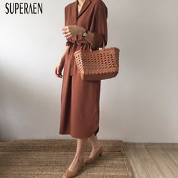 $enCountryForm.capitalKeyWord Australia - Superaen Korean Style Fashion Solid Color Women Shirt Long Sleeve Casual Loose Ladies Dress Wild New Autumn Dresses Q190517