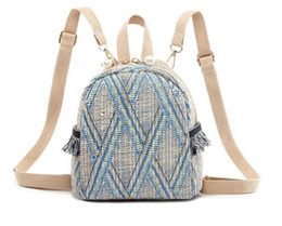 Styles Backpacks Australia - Straw Woven Small Backpack Women Fashion Bag Stripe Print Shoulder School Knitting Backpack Female