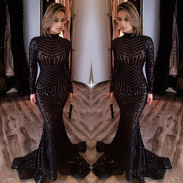 full length sparkly dress UK - Sparkly Sequins Mermaid Prom Formal Dresses 2019 High Neck Black Full Back Trumpet Sweep Train Occasion Evening Wear Gowns