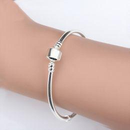 $enCountryForm.capitalKeyWord Australia - Wholesale 925 Sterling Silver Bracelets 3mm Snake Chain Fit Pandora Charm Bead Bangle Bracelet DIY Jewelry Gift For Men Women