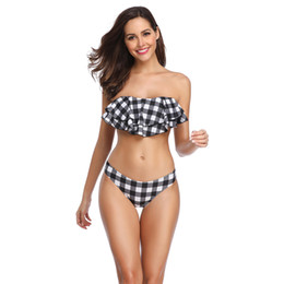 Wholesale femme bikini hot for sale – plus size 2019 Hot Plaid Women Bikini Set Sexy Black white Bathing Suits Swimwear Ruffles Push Up Swimsuits Beachwear Biquinis Femme