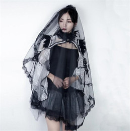 Costume Accessories Sweet Womens Cosplay Lace Veil Halloween Day Wedding Ladies Costume Accessories The Bride Veil on Sale