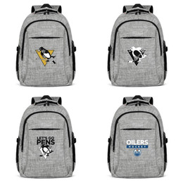 leopard pens Australia - Let's go pens Stanley Cup Pittsburgh Penguins gray Womens Mens Travel Laptop Backpack Hiking Edmonton Oilers 2018 Playoffs Arizona 1 San