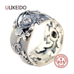 999 Ring Australia - Ulikeido Real 999 Sterling Silver Rings For Women Man Lover Party Vintage Flower Thai Silver Jewelry Unisex Gift Wide Size Fine T7190613