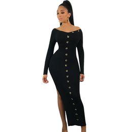 $enCountryForm.capitalKeyWord UK - Women Sexy Slit Hemline Dress Sprint Autumn Women Fall Fashion New Designer Long Sleeve Solid Color buttons slash neck Party Dress NB-1020