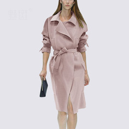 ingrosso lungo trench rosa per le donne-Trench Coat For Women Long Sleeve Lady Rosa Giacca a vento Spring Fashion Office Lady Work Wear Soprabito con cintura LX2650