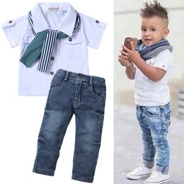 kids tracksuits sport suits NZ - Children Clothing 2020 Toddler Baby Boys Clothes Summer T-shirt+Jeans Sports Suits For Boys Kids Clothes Tracksuit 2 5 6 7 Year T200629