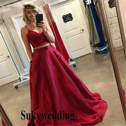 cheap sheer top prom dress Australia - 2019 Two Piece Prom Dresses Red Satin Long Party Dresses Sweetheart Spaghetti Strap A Line Crop Top Cheap Pageant Evening Party Gowns
