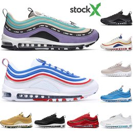 x bullet Canada - With free socks 2020 quality Mens Women running shoes pull tab Violet MSCHF x INRI Jesus RED Black Bullet Designer Athletic sports sneakers
