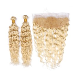 hair weaves closure UK - Malaysian Human Hair #613 Blonde 2Bundles Wet and Wavy and Frontal Closure 13x4 Bleach Blonde Water Wave Hair Weaves with Lace Frontals