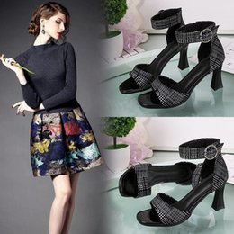 Fish Mouth Sandals NZ - Lucky2019 With Coarse Belt Button Fish Mouth Women's Shoes Joker Lattice High With Woman Sandals