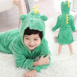 Toddlers Bathrobes Australia - Children's Bathrobe For Boys Girls Flannel Robes Pajamas Baby Cartoon Hooded Kids Soft Bath Robe Home Wear Toddler Clothes 2-8t Q190530