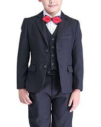 $enCountryForm.capitalKeyWord Australia - Boy Suit Notch Lapel Custom Made Navy Blue Kid Suit Wedding  Prom Dinner Leisure show Children suit ( Jacket+Pants+Vest+Shirt+Tie ) M1353