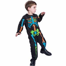 Jumpsuits Pyjamas Australia - costumes costumes Carnival Anime Costume For Kids Scary Boy Skeleton Costume Black Pyjama Jumpsuit Halloween Boys Cosplay 2017
