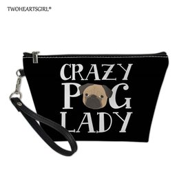 $enCountryForm.capitalKeyWord Australia - Twoheartsgirl Crazy Pug Printed Cosmetic Bag Women Makeup Bag And Case Professional PU Leather Travel Makeup Organizer Kits