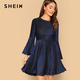 d487ec8da5e4 SHEIN Navy Elegant Trumpet Sleeve Fit and Flare Glitter Party Dress Women  2019 Spring Plain Highstreet Solid Short Dresses